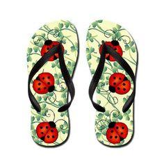 Ladybug Flip Flops #fashion #shoes