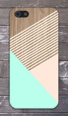 Mint Champagne Pink Striped Wood Design Phone Case