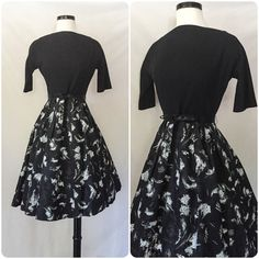1950s Black Wool and Tafetta Dress // 50s cocktail party dress // vintage black and white holiday dress