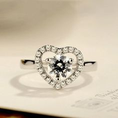 Cubic Zirconia Heart Ring 925 Sterling Silver - USD $53.95