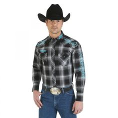 Wrangler Logo Mens Black Plaid Turquoise Trim Western Snap Shirt MP1272M South 40 Western Wear Black plaid print  Long sleeves  Spread collar  Western snaps  Two snap flap pockets  Snap cuffs  Western front and back yokes  Decorative turquoise and white embroidery on the front yokes and at the back shoulders  Wrangler logo embroidery on the left front collar, above the right pocket, down the left sleeve and across the back yoke  100% cotton Western Shirts, Western Wear, Black Plaid, Black And Grey, Cowboys Shirt, Man Logo, White Embroidery, Wearing Black, Men Casual