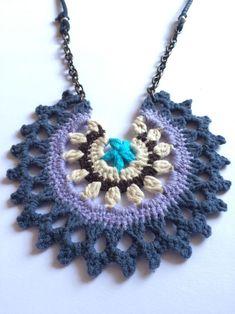 Mandala Tığ İşi Kolye /Mandala Crochet Necklace Zet.com'da 75 TL