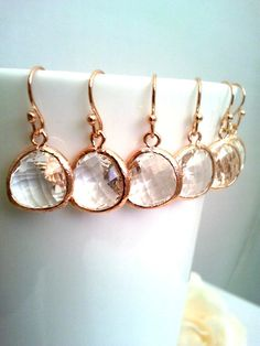 15 OFF SET of 110  Rose Gold Earrings Clear Wedding by AngelsBride, $18.00