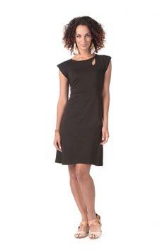 $66 Bali Stitch Keyhole Dress in Black