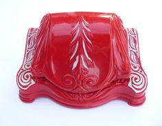 Red Vintage Ring Box Celluloid Plastic Ornate by TreasuresOfGrace, $54.00