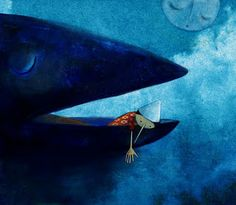 "Manuela Adreani illustration for ""Pinocchio"", White Star Publishers. Whale Illustration, Emoji Images, Deep Sea Creatures, Blue Fairy, Art Base, Renoir, Fairy Tales, Opera, Sculptures"