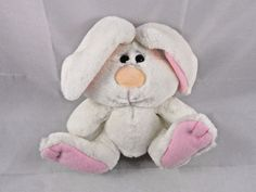 "Soft Dreams White Rabbit Bunny Rattle Plush 5"" To Top of Head #SoftDreams"