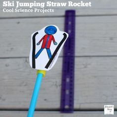 Cool Science Projects -Ski Jumping Straw Rocket : A set of printable ski jumpers is available. Preschool Science, Science Fair, Science For Kids, Physical Science, Winter Activities, Science Activities, Activities For Kids, Winter Games, Movement Activities