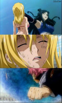 Fairy Tail, Natsu X Lucy, Nalu, awww how Natsu reacts in episode 171.