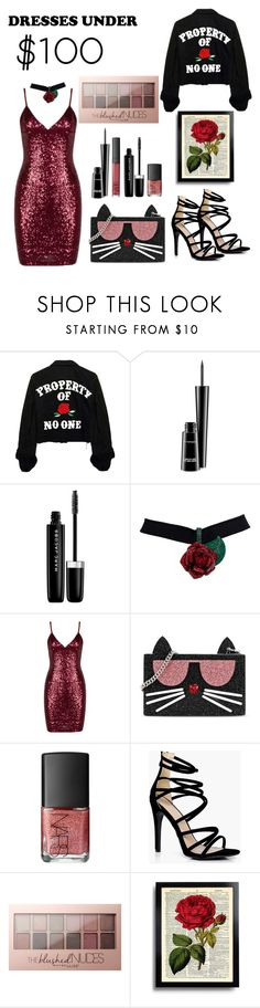 """Dress under 💯"" by fashion8-2016 ❤ liked on Polyvore featuring MAC Cosmetics, Marc Jacobs, Karl Lagerfeld, NARS Cosmetics, Boohoo, Maybelline and under100"
