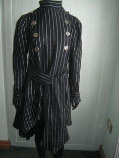 Boutique so stylish pinstriped 100% wool coat unusual design front/back 14 bnwt | eBay