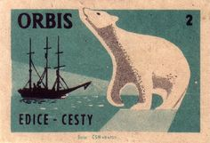 Czech matchbook label.  Coolest polar bear ever.