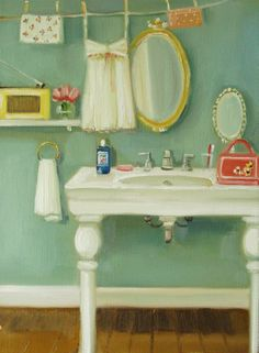 How sweet and simple is this bathroom