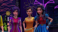 Mal Jordan and Evie Descendants Wicked World, Disney Channel Descendants, Descendants Cast, Pixar, Neon Light, Rotten To The Core, Sofia Carson, Cameron Boyce, Movie Collection