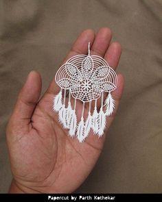 Papercut - Crochet Dreamcatcher - wall hanging - white feathers - handmade - Papercraft - paper cutting - dream catcher -