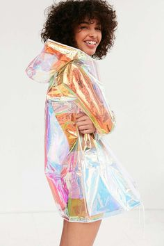 Light Before Dark Holographic Raincoat