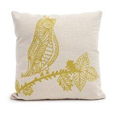 Make a statement with the Stitched Bird Lemongrass Pillow