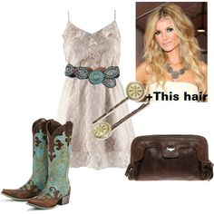 I usually like more classic styles but I am really digging this sweet outfit with the cowboy boots