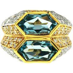 Iconic Bulgari Aquamarine Diamond Two-Color Gold Double Ring