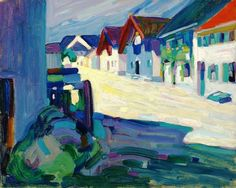 """lawrenceleemagnuson: """" Wassily Kandinsky Murnau – Strasse inscribed, dated and numbered by Gabriele Münter oil on canvasboard 33 x 41 cm """" Franz Marc, Wassily Kandinsky Paintings, Fauvism, Oil Painting Reproductions, Art Moderne, Art Graphique, Art Abstrait, Klimt, Artist Art"""