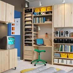 The inspiration photo for the Ikea Ivar shelving system (note: the narrow unit with lots of shelves) Ikea Workspace, Ikea Office, Ivar Regal, Ikea Kitchen Storage, Ikea Inspiration, Hacks Ikea, Ikea New, Ikea Shelves, Interior Design Living Room