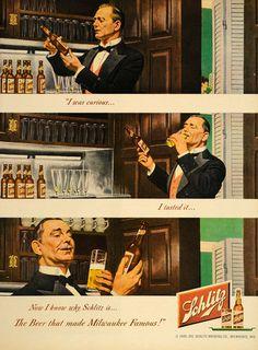 1949 Ad Schlitz Beer Glasses Brewing Milwaukee Bottle - ORIGINAL ADVERTISING #vintage #wisconsin