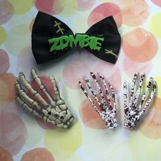 """Zombie hair bow/clips 1 zombie hair bow-- 2 """"bloody"""" hands clips and one skeleton hand accessory (no clip on this but can easily be attached) Accessories Hair Accessories"""