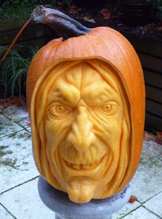 """""""Witch Pumpkin"""" carved by Clive Cooper"""
