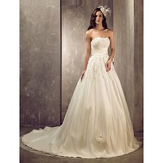 Lanting+Bride®+A-line+/+Princess+Petite+/+Plus+Sizes+Wedding+Dress+-+Elegant+&+Luxurious+/+Glamorous+&+Dramatic+Court+Train+Sweetheart+–+USD+$+189.99