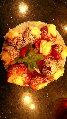 Strawberry filled with no bake cheesecake