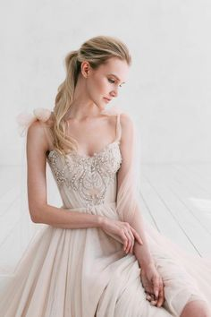078937f3725 A-line powder wedding dress Armel by Ange Etoiles • Wedding dress with long  train