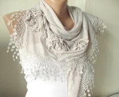 Beige Cotton Scarf with three roses and tassel Lace by Periay