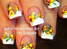 "Robin Moses Nail Art: ""yellow flowers"" ""nail art"" ""yellow nail art"" ""yellow nails"" ""yellow french manicure"" ""yellow flower nail art"" ""floral nail art"" ""yellow tips"" ""easy flower nails"" ""summer flower nails"" ""spring nail art"" ""yellow zebra"""