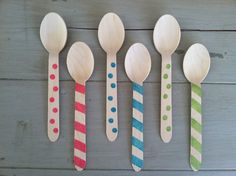 Striped Wooden Ice Cream Party Spoons
