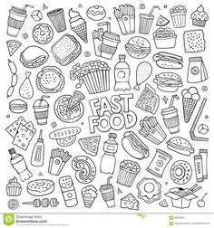 fast-food-doodles-hand-drawn-vector-symbols-sketchy-doodle-cartoon-set-objects-theme-59016667.jpg (1300×1390)
