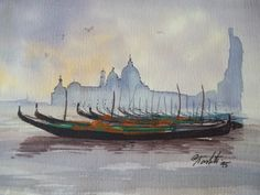 1995 date Giamberti Venice Watercolor Gondola Boat Painting small signed #Expressionism