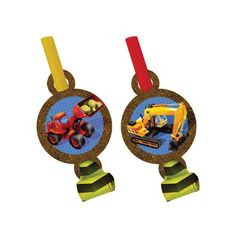 """Blowouts add so much fun to a party! These Under Construction blowouts feature a medallion with construction equipment pictured, a bright yellow and black """"blowout"""" and yellow or red straws to blow through. Each package contains 8 blowouts."""