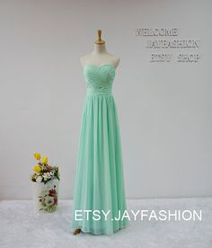 A-line Sweetheart long prom dressMint Green fashion by jayfashion