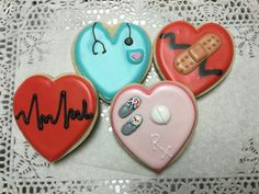 Medical Themed Decorated Sugar Cookie Hearts by I AM the Cookie Lady Fancy Cookies, Valentine Cookies, Iced Cookies, Cupcake Cookies, Sugar Cookies, Heart Shaped Cookies, Heart Cookies, Nurse Cookies, Sugar Cookie Royal Icing