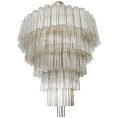 Tiered Smoked Glass Murano Chandelier