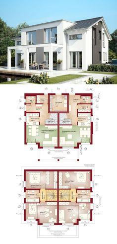 Zweifamilienhaus moderne Architektur mit Satteldach und Pergola - Grundriss Haus Celebration 192 V5 Bien Zenker Fertighaus - HausbauDirekt.de