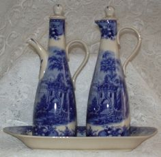 OIL & VINEGAR SET    THIS ROMANTIC FRENCH VINTAGE DESIGN BY ASCOT IS IN FINE PORCELAIN.