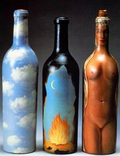 Rene Magritte - Painted Bottles 1959 Painting on objects other than canvas. Rene Magritte, Bottle Painting, Bottle Art, Bottle Crafts, Conceptual Art, Surreal Art, Poesia Visual, Altered Bottles, Bottles And Jars