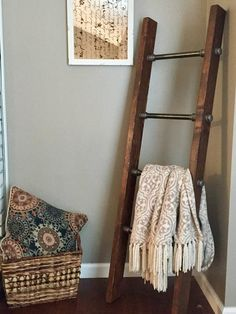 Industrial pipe blanket ladder is the perfect living room accent to add a little.,Industrial pipe blanket ladder is the perfect living room accent to add a little rustic charm to any home! This blanket ladder is made with solid pine. Diy Rustic Decor, Farm House Living Room, Perfect Living Room, Rustic Ladder, Farmhouse Furniture, Rustic Living Room, Living Decor, Living Room Accents, Rustic House
