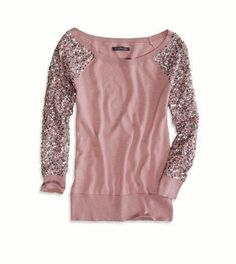 Sequined Sweater- omg i would so wear this! And i would like curl my hair with it and pink lip gloss and nail polish!!! Oh and sparkly eye shadow! :)