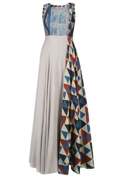 Grey and blue shaded triangular blocks printed maxi dress available only at Pernia's Pop Up Shop.