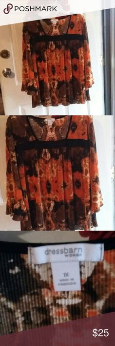 *Dressy Blouse* Pleated fabric with vibrant colors & has 1 button a strip of black trim across top of chest area & long bell sleeves Dress Barn Tops Blouses