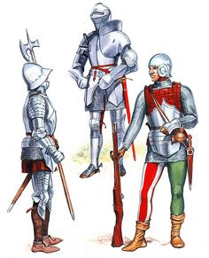 • Spanish man-at-arms, end of 15th century  • Italian knight, end of 15th century  • French handgunner, end of 15th century
