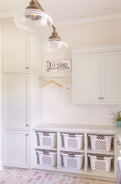 Bright White Home of Our Modern Antebellum - Summer Adams - Another fabulous home that you MUST SEE as part of my Bright White Home Series. Come visit the home of Our Modern Antebellum! Laundry Room Baskets, Mudroom Laundry Room, Laundry Room Layouts, Laundry Room Remodel, Laundry Room Organization, Laundry Room Design, Laundry In Bathroom, Laundry Basket Storage, Laundry Room Island