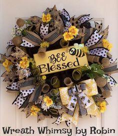"Spring Summer Deco Mesh Bumblebee Wreath with Handmade Wood ""Bee Blessed"" Sign, Front Door Wreath, Yellow Black Wreath, Bee Wreath by WreathWhimsybyRobin on Etsy Wreaths For Front Door, Door Wreaths, Summer Deco, Spring Summer, Wood Bees, Black Wreath, Blessed Sign, Diy Wreath, Wreath Ideas"